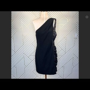 Black Halo One Shoulder Ruched Mini Dress Bodycon